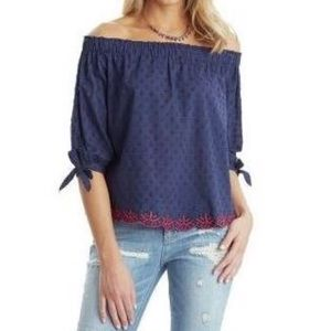 Democracy Off Shoulder Embroidered 3/4 Sleeve Top